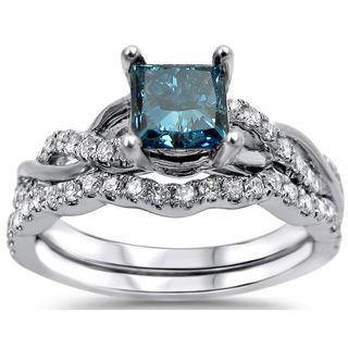 Noori 14k White Gold 1 1/5ct TDW Blue and White Diamond Bridal Set