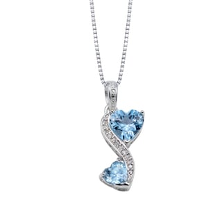 Love Grows Sterling Silver Blue Topaz Diamond Accent Heart Necklace