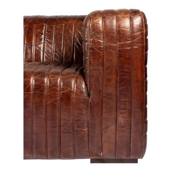 Shop Aurelle Home Tillow Brown Top Grain Rustic Leather Sofa ...