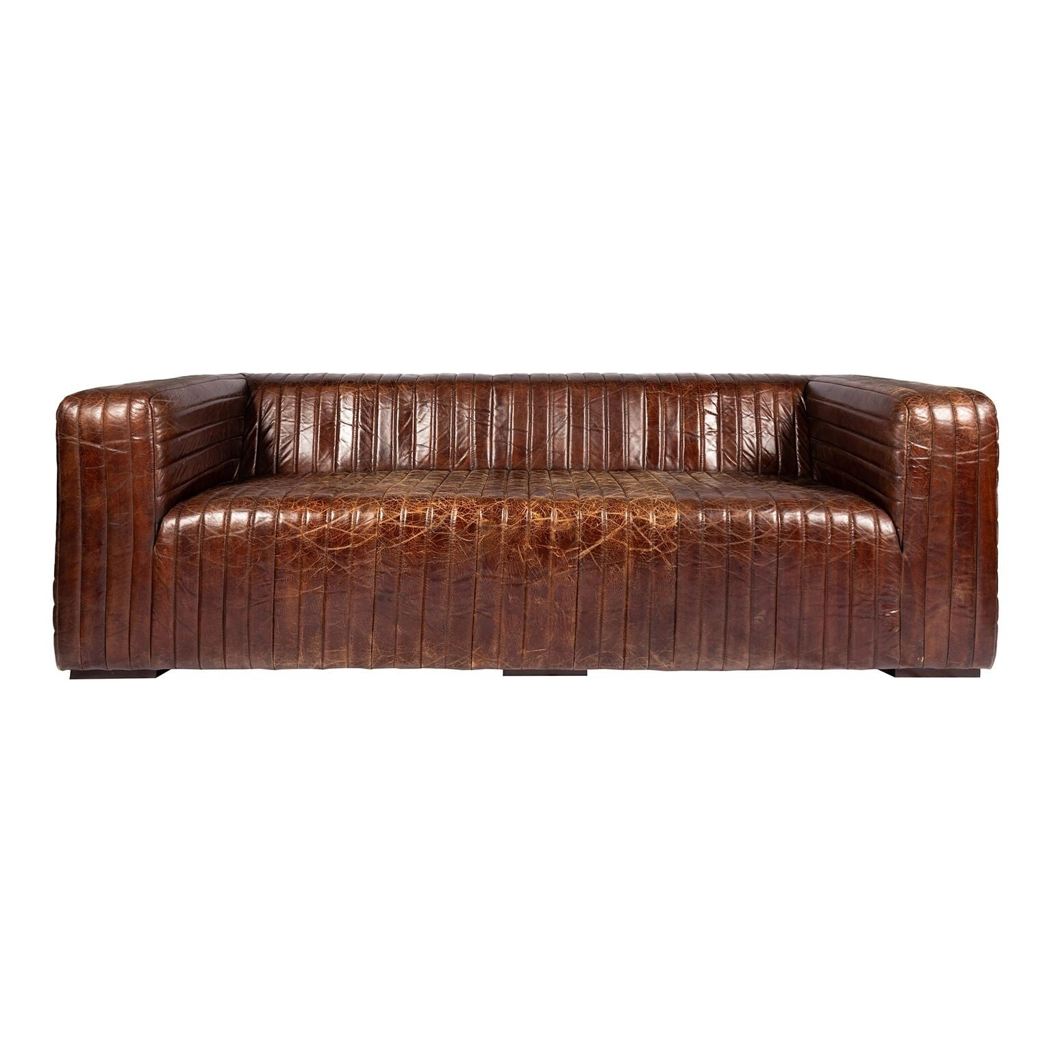 Shop Aurelle Home Tillow Brown Top Grain Rustic Leather Sofa - Free ...