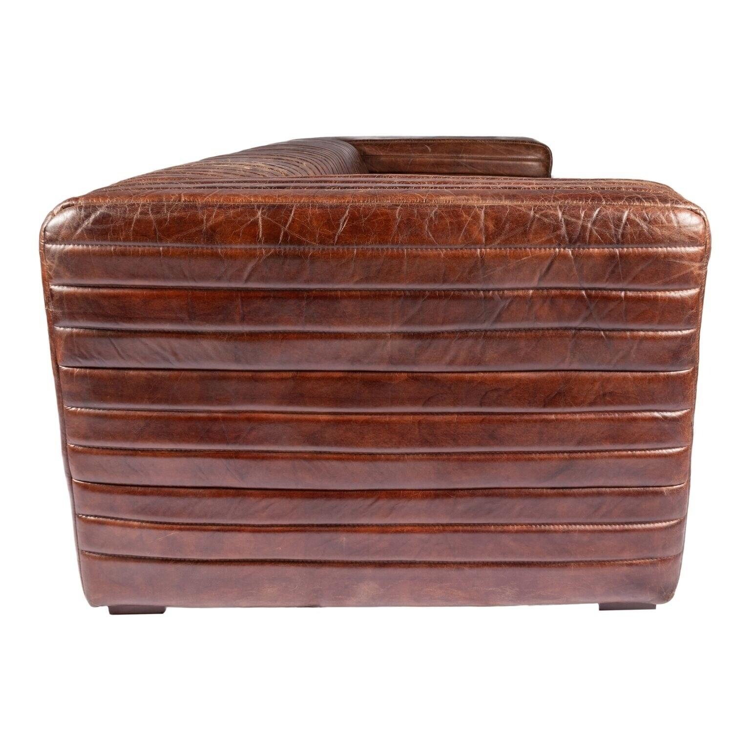Shop Aurelle Home Tillow Brown Top Grain Rustic Leather Sofa - On ...