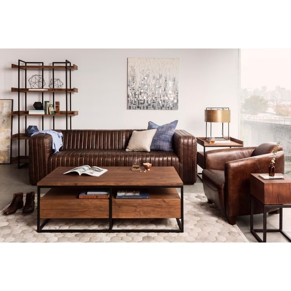 Aurelle Home Tillow Brown Top Grain Rustic Leather Sofa
