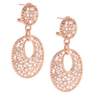 Rosetone Sterling Silver Round Morganite Zircon Drop Earrings