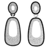 Pave Black and White Crystal Geometric Drop Earrings - N/A