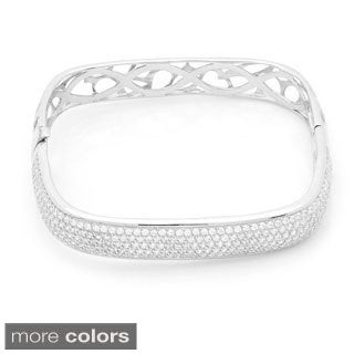 Pave Cubic Zirconia Square shaped Sterling Silver Bangle