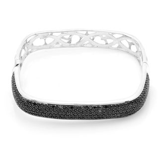 Sterling Silver Pave Cubic Zirconia Square-shaped Bangle (4 options available)
