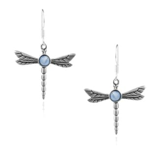Journee Collection Sterling Silver Cat's Eye Dragonfly Earrings
