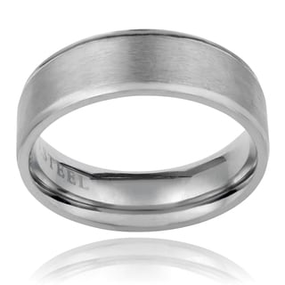 Vance Co. Men's Stainless 7 mm Steel Brushed Band