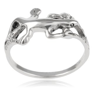 Journee Collection Sterling Silver Gecko Ring