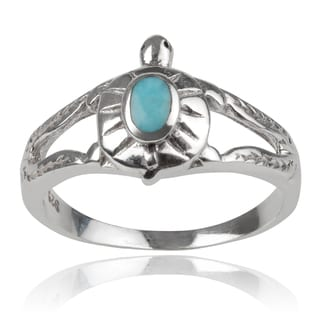 Journee Collection Sterling Silver Turquoise Turtle Ring