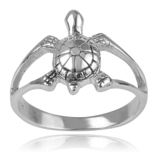 Journee Collection Sterling Silver Turtle Split Shank Ring