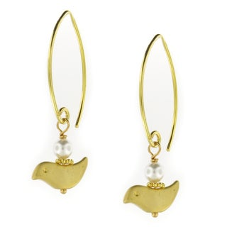 Handmade Vermeil Earwires w/16K Gold Plated Bird Dangle Earrings (USA)