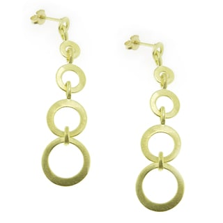 18-Karat Gold-plated Satin Finish Graduating Circles Dangle Earrings (Brazil)