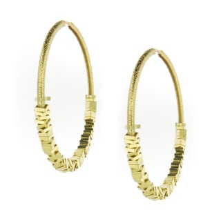 Handmade 18-Karat Gold-plated Satin Finish Square Beads Hoop Earrings (Brazil)