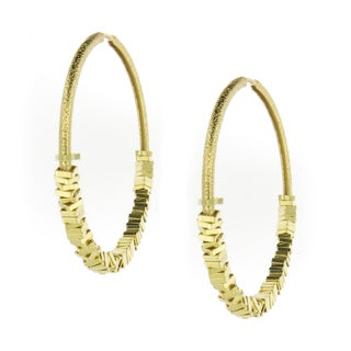 Handmade Gold-Plated Satin Finish Square Beads Hoop Earrings (Brazil)