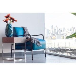 Aurelle Home Kimmy Blue Leather Club Chair