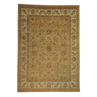 Wool and Silk Gold Kashan Hand-knotted Oriental Rug (8'9 x 12'2)