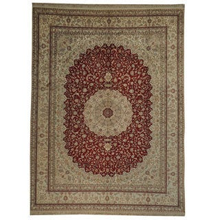 Pure Silk Red Kashan Hand-knotted Oriental Rug (8'9 x 11'10)