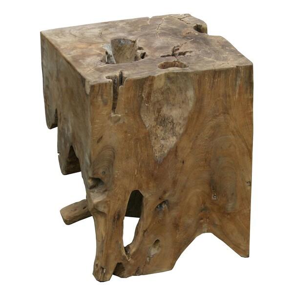 Aurelle Home Natural Solid Teak Wood End Table