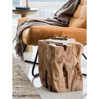 Aurelle Home Natural Solid Teak Stump Wood Accent Table
