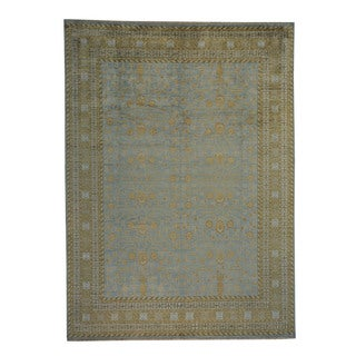 Blue Pure Silk Khotan Design Hand-knotted Oriental Rug (8'10 x 12')