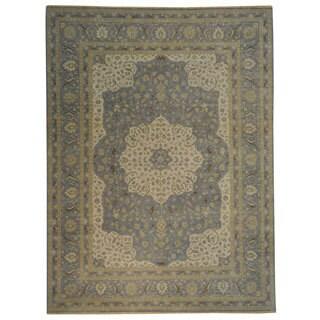 Silver Blue Tabriz Dense Weave Hand-knotted Oriental Rug (8'10 x 12')