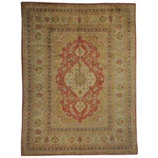 Antiqued Ottoman Hand Spun Silk Hand-knotted Oriental Rug (9' x 11'9)