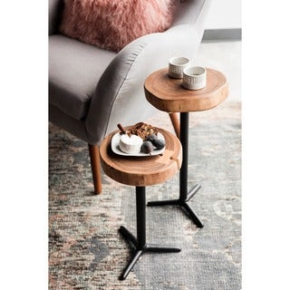 Aurelle Home Erin Acacia Wood Solid Accent Tables (Set of 2)