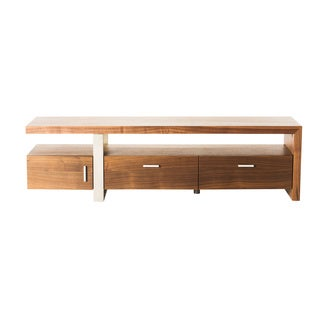 Aurelle Home Phoenix Walnut Stainless Steel Modern TV Table