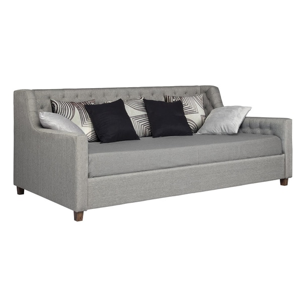 Upholstered Daybed avenue greene jordyn grey linen upholstered daybed - free shipping