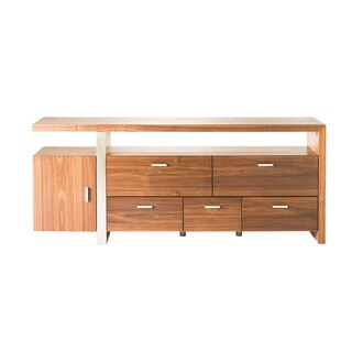 Aurelle Home Walnut Wood TV Stand and Sideboard