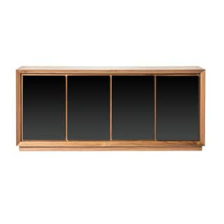 Aurelle Home Cusingan Walnut Wood Sideboard with Glass Front