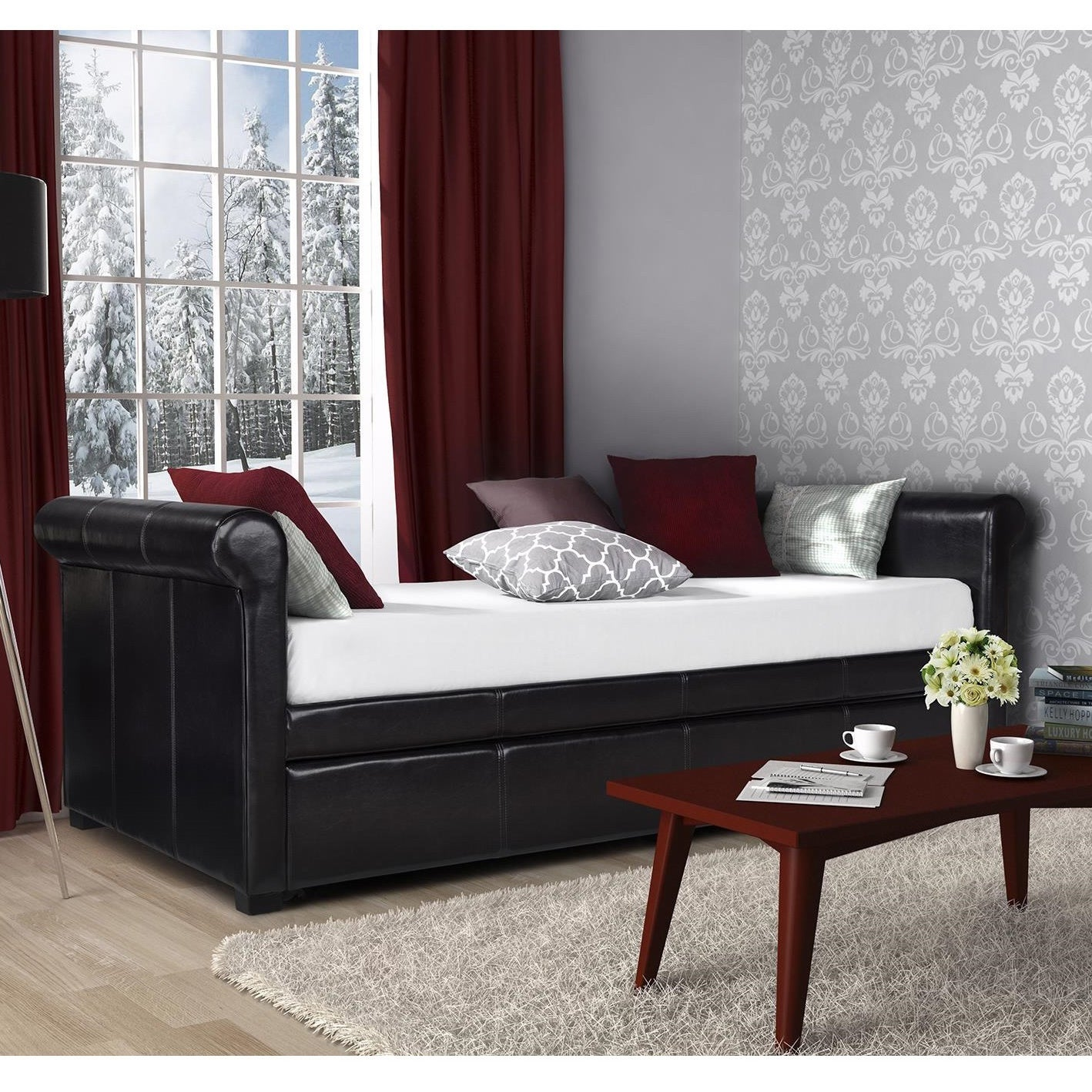 DHP Giada Upholstered Trundle/ Daybed (Daybed and trundle...