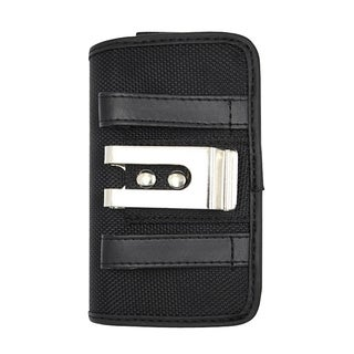 INSTEN Black Horizontal Canvas Fabric Phone Case Cover Pouch With Belt Clip For Samsung Galaxy S 4 LTE/ 4 GT-i9500
