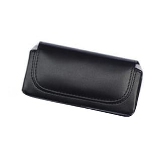 INSTEN Black Horizontal Leather Fabric Phone Case Cover Pouch With Belt Clip For Apple iPhone 4/ 4 AT&T/ 4 Verizon/ 4S