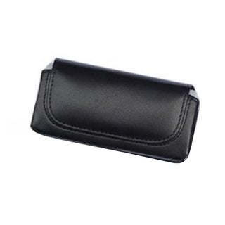 INSTEN Black Horizontal Leather Fabric Phone Case Cover Pouch With Belt Clip For Apple iPhone 5/ 5S/ SE