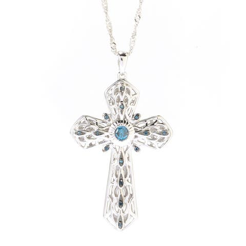 Sterling Silver 1/4ct TDW Green Diamond Cross Pendant Necklace