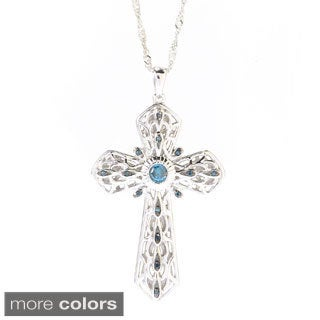 Sterling Silver 1/4ct TDW Colored Diamond Cross Pendant Necklace (I2-I3)