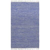 Flatweave Reversible Blue Chenille Area Rug (10' x 14') - 10' x 14'