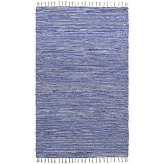 Flatweave Reversible Blue Chenille Area Rug (4' x 6') - 4' x 6'