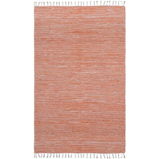 Flatweave Reversible Orange Chenille Area Rug (5' x 8') - 5' x 8'