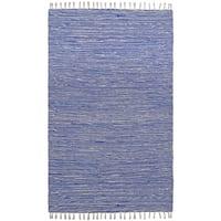 Flatweave Reversible Blue Chenille Area Rug (5' x 8') - 5' x 8'