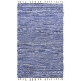 Flatweave Reversible Blue Chenille Area Rug (9' x 12') - 9' x 12'