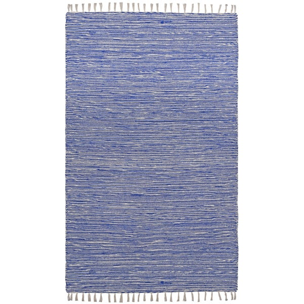 Flatweave Reversible Blue Chenille Area Rug (9' x 12')