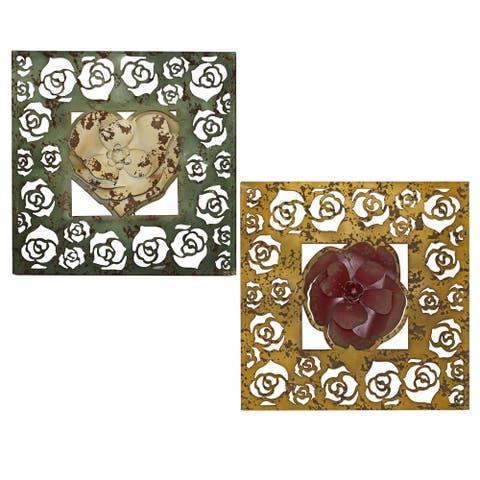 Handmade Aura Floral Panel, Set of 2