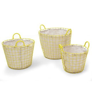 Adeco Oval Urban Style Lined Yellow Wire Laundry Baskets (Set of 3)