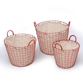 Adeco Oval Urban Style Lined Red Wire Laundry Baskets (Set of 3)