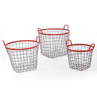 Adeco Multi-Purpose Oval Red Iron Wired Baskets (Set of 3)
