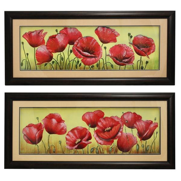 Floral Splendor Framed Wall Art Decor (Set of 2)