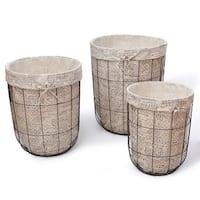 Adeco Multi-purpose Newspaper Print Lining Tall Circular Laundry Baskets (Set of 3)